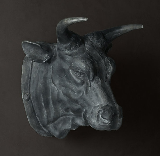 Restoration Hardware: CIRCA 1900 CAST METAL BULL'S HEAD