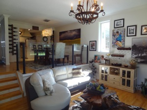 wine racks, storm painting, winery painting