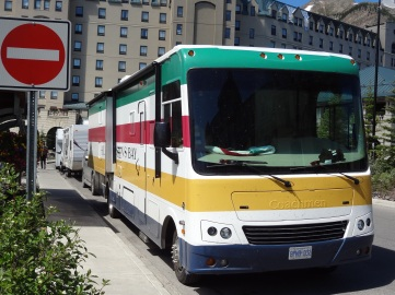 The Hudson's Bay Company coloured bus