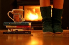 books, warm socks, and a fireplace