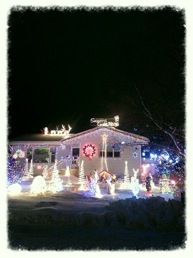 A well lit house in the neighbourhood