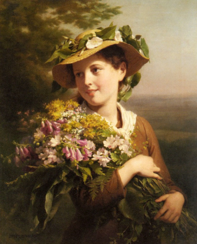 A young beauty holding a bouquet of flowers Fritz Zuber-Buhler (1822 – November 23, 1896)